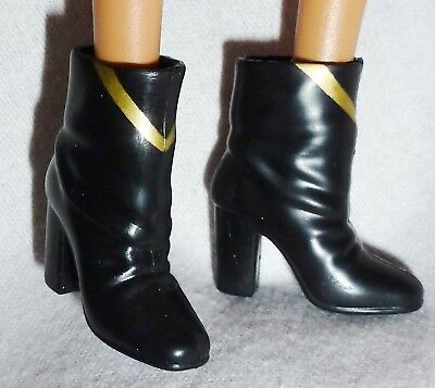 Hb ~ Shoes Barbie Doll Model Muse Black Gold Fao Soldier Slouch Ankle Boots