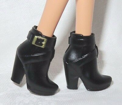 Hb ~ Shoes Barbie Doll Model Muse Urban Jungle Black Faux Buckle Ankle Boots