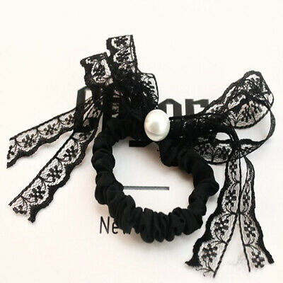 Girls Lace Net Bunny Ears Bun Hair Tie Pearl Ponytail Holder Scrunchie Ring L