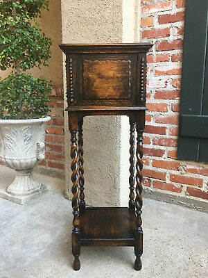Antique English Oak Barley Twist Plant Stand 2 Shelf Display Jacobean Planter