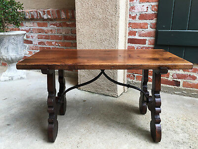 Antique French Walnut Coffee TABLE BENCH Catalan Spanish Iron Country Pegged