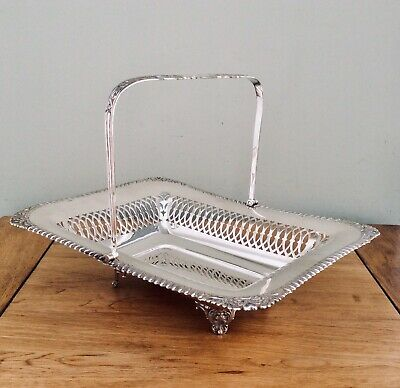 19th C. Footed Silver Plated Handled Bread/Fruit Basket FRANCIS HOWARD C1880
