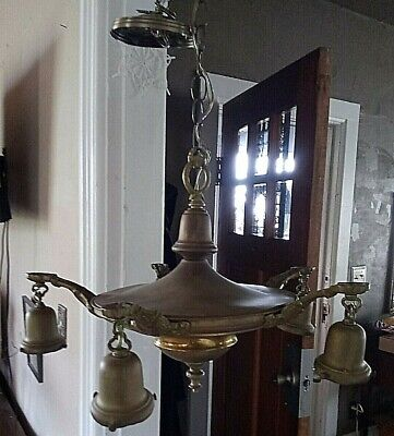 Antique Brass 4 Pan Light Fixture Chandelier *Rewired