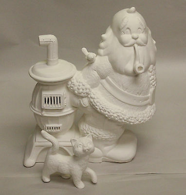Ceramic Bisque Santa with Stove Cat CPI Mold 1976 1977 U-Paint Ready To Paint