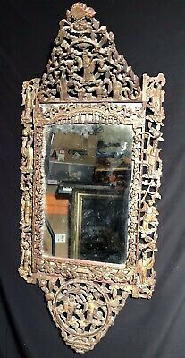 Large Antique Carved Wood Chinese Mirror Very Heavy Absolutely Stunning