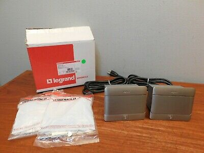 Pair of Legrand Wiremold DQFP15ST Flip Pop Up Floor Outlet Table Box Never Used