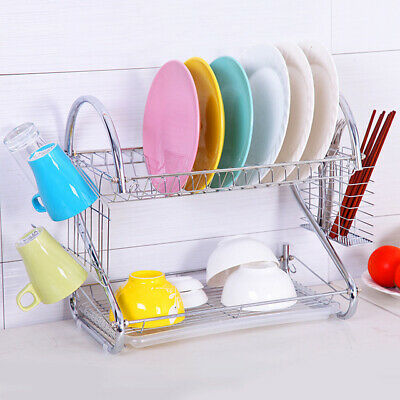 Large Capacity 2 Tier Dish Drainer Chopsticks Cup Drying Rack Kitchen Storage