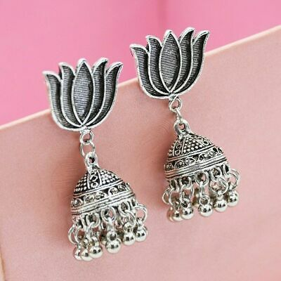 Lotus Bollywood Jhumka Oxidized Silver Earrings Gypsy Boho India Ethnic Jhumki