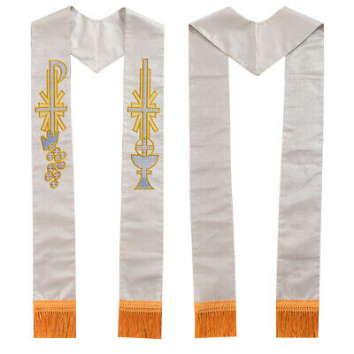 Blessume White Stole Chalice Chi-Rho Cross Grape Embroidery Church Priest Mass