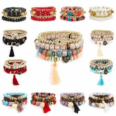 Boho Bracelets Set Natural Stone Multilayer Tassel Elephant Women Bangle Jewelry