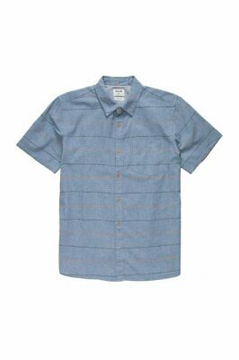 HURLEY Blue CLIFTON Classic Fit Button Front Woven Short Sleeve SHIRT MENS L NEW