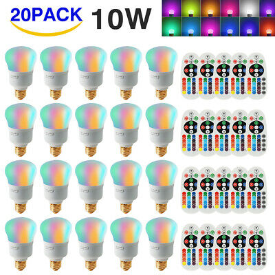 16 Color Changing E26 E27 10W RGBW LED Light Bulbs Lamp+Wireless Remote Control