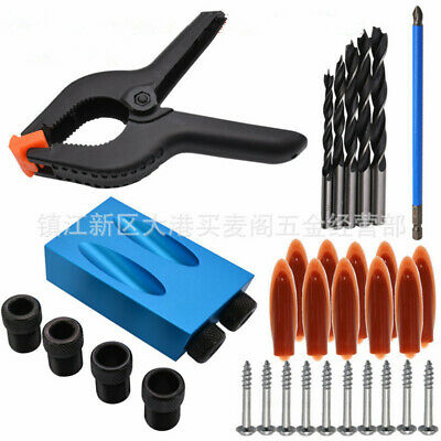 1Set 15°Angle Pocket Hole Screw Jig Wood Joint Tool With Dowel Drill Carpenters
