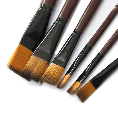 6pcs/Set Paint Brushes Set Nylon Brush for Oil Watercolor Artist Painting Art