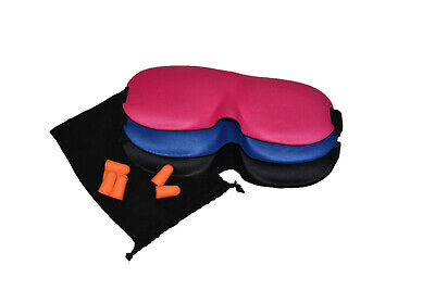 3D Sleep Mask Pack of 3 Lightweight Super Soft Comfortable With 3 Pairs Earplugs