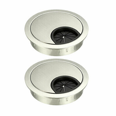"Cable Hole Cover, 2-1/8"" Zinc Alloy Desk Grommet, 2 Pcs (Wire Drawing, Silver)"