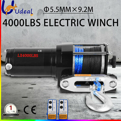 4000LBS 1814KG 12V Wireless Electric Winch Steel Cable Boat ATV 4WD Trailer