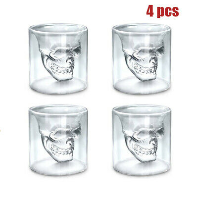 4PCS Crystal Skull Head Vodka Shot Whiskey Wine Beer Glass Drinking Decanter Cup
