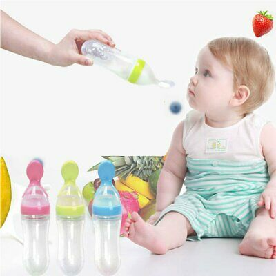 Silicone supplement Bottle Squeeze Feeding Spoon Food Rice Cereal Baby Feeder