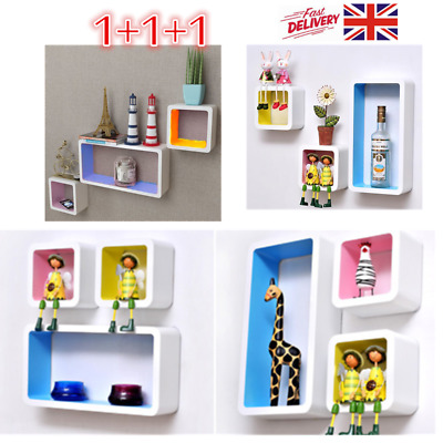 3 MDF Floating Cubes Wall Storage Book CD Display Shelves Square Home Decoration