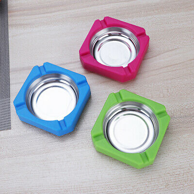 Portable Stainless Steel Round Ashtray Cigarette Holder Ash Tray Organizers