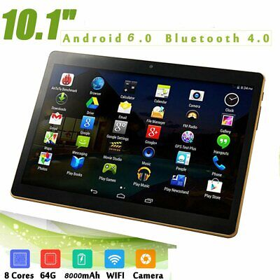 """10.1"""" Android 6.0 Tablet PC 4+64GB Octa Core WIFI GPS Phone Pad Phablet 2Ghz sK"""