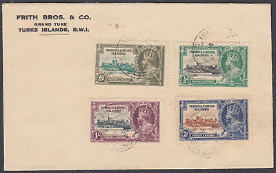 1935 Turks & Caicos Islands Silver Jubilee set on Cover