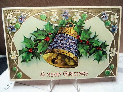 1910 Embossed Postcard Christmas Gold Bell Flowers & Holly Berries B.W. 327 Card
