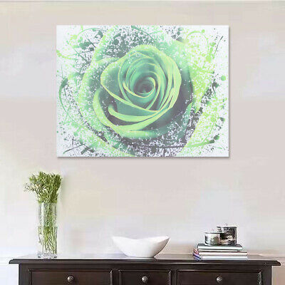 Modern Green Rose Flower Canvas Print Art Painting Picture Wall Decor