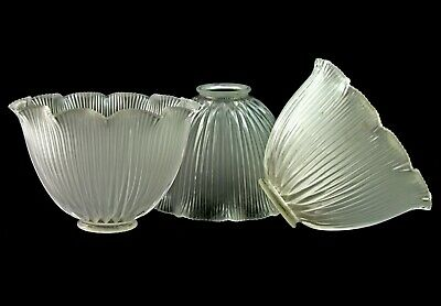 """Vintage Holophane Ribbed Glass Light Shade  Lot of 3    4-3/4"""" Tall"""