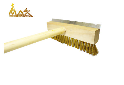 Pizza oven brush and scraper, brass Crimped wire and steel scraper bamboo handle