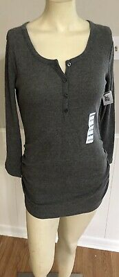 f98c73aa3b3f3 Old Navy Maternity Size Medium Shirt Solid Gray Long Sleeves Ruched Sides  New