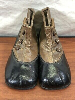 Vintage Rare Art Deco Collectible Original 1920's 1930's ALLLEATHER Baby Shoes