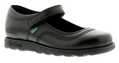 New Older Girls/Childrens Black Patent Kickers Fragma Pop Shoes UK Size