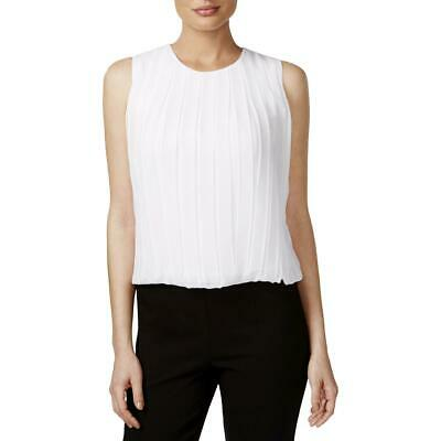0777df56f59f65 Calvin Klein Womens White Pleated Dress Top Blouse Petites PXS BHFO 0950