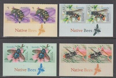 Australia 2019 Native Bees mint unhinged set 4 self adhesive stamps in pairs.