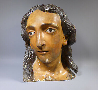 SUPERB ANTIQUE 18th CENTURY? CARVED & PAINTED HEAD OF CHRIST OR SAINT GLASS EYES