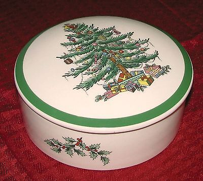 "Early Spode Eng Christmas Tree Large 5 1/4"" Trinket Candy Dresser Box S3324F MT"