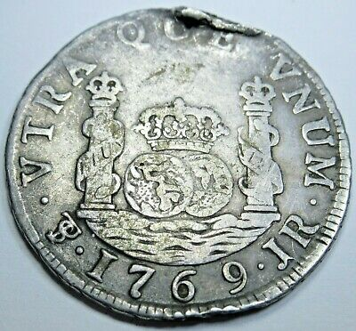 1769 JR Spanish Potosi 2 Reales Silver Piece of 8 Real Colonial Era Pirate Coin