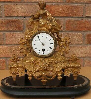 Old Brevett Paris Gilt Metal Clock With Lady On Top On Wooden Base To Tidy Up