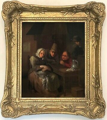 Peasant in a Tavern Antique Old Master Oil Painting 18th Century Dutch School