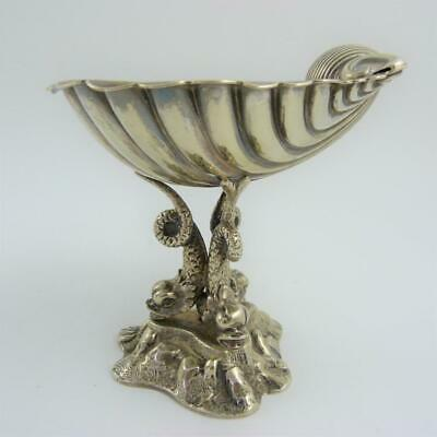 19Th Century Silver-Plated Clam Shell Dish On Triple Dolphin Supports, Benetfink