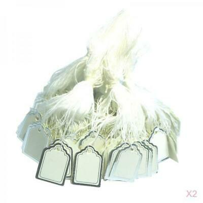 1000PCS Small Merchandise Price Tags White Blank with Strings Strung 24x18mm