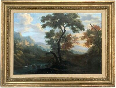 Ruins Italianate Landscape Antique Oil Painting Early 19th Century Dutch School