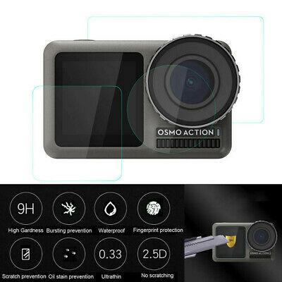 9H Tempered Glass Film Dual Screen Protector Camera Lens For DJI OSMO Action Cam