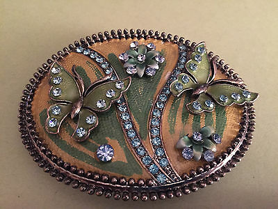 ANTIQUE style Austrian crystals+ ENAMEL BELT BUCKLE-with Butterflies/Flowers WOW