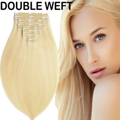 Extra 160G++ Thick Double Weft Clip In Hair Extensions 100% Remy Human Hair Full