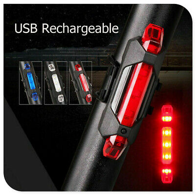 5 LED USB Safety  Lamp Rechargeable Bike Tail Light Bicycle Cycling Warning Rear