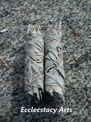2 California White Sage Smudge Stick- Herb House Cleansing Negativity Removal