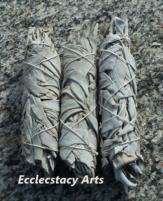 "3 White Sage Smudge Bundle Incense-Herb Wand 4- 5"" Long House Cleansing Negative"